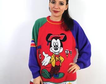 Vintage Knit Mickey Mouse University Sweater