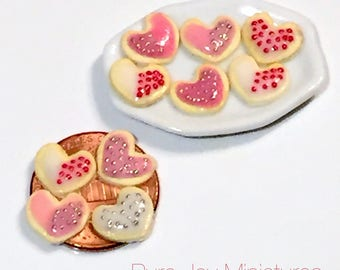 Dollhouse Miniature Food - Miniature Polymer Clay Valentine's Day Cookies