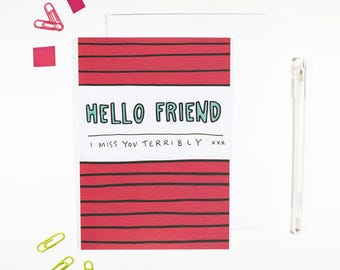 Hello Friend I Miss You Terribly Card Bright Pattern Just Because Friendship Card