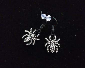 Black Jeweled Spider Earrings