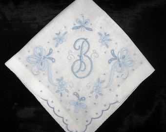 Hankie Monogrammed Letter Initial Handkerchief, Wedding Hankerchief B G S M F A H L E or N