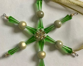 Vintage, Green and gold beaded snowflake, star, ornament or rear view mirror, window, sun catcher