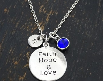 Faith Hope Love Necklace, Faith Hope Love Charm, Faith Hope Love Pendant, Faith Hope Love Jewelry, Faith Necklace, Hope Necklace, Religious