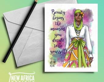 "Melanin Squad Greeting Card ""Najla"", A7, Black Greeting cards"