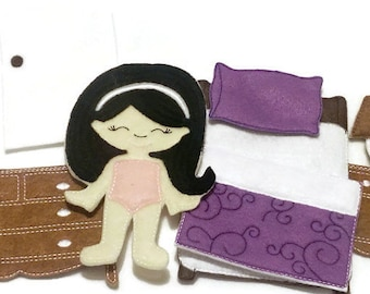Non paper doll bedroom furniture  Quiet Game felt gamel travel toy Felt Favor Childrens Toy **Doll is not included with this set**** #1520