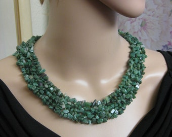Green Jade Jadeite Nugget Collar Necklace ~ Natural Jade Wide Cluster Necklace ~ Handcrafted Jadeite Jade Necklace ~ Green Jade Necklace
