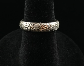 Etched Botanical Sterling Band