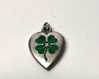 Enamel Four Leaf Clover Heart, Good Luck, Sterling Silver