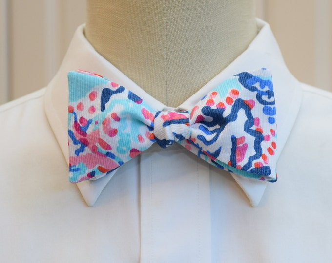 Men's Bow Tie, Shell Me About It Lilly blue/aqua/pink print bow tie, wedding bow tie, groom/groomsmen bow tie, prom bow tie, pastels bow tie
