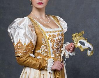 Wedding Renaissance dress white and gold color Lucrezia Borgia gown late 15th century Italian fashion women dress   !!!POSSIBLE TO ORDER!!!