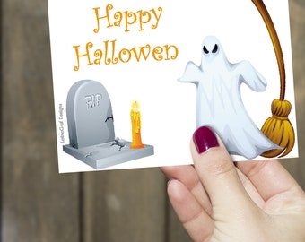 Happy Halloween Card * Scary Halloween Card * White Ghost