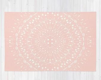 Pink Area Rug, light pink area rug, pink nursery rug, blush pink rug, pastel pink rug, pink white rug, blush area rug, blush nursery rug
