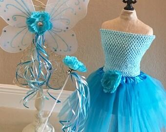 Fairy Costume, Fairy Tutu, Tinkerbell Costume, Blue Fairy Wings, Tinkerbell Dress, Blue Fairy Costume, Fairy Party Favors, Fairy Birthday