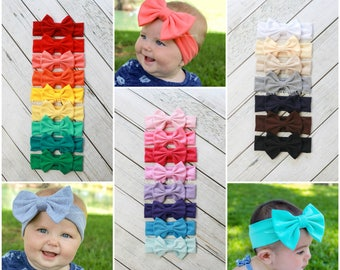 Baby head wrap, baby bow headbands, 30 colors, girl clip bows, infant headbands, big bows, baby girl headband, pink bow, easter headband