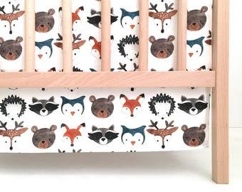 Crib Skirt Watercolor Woodland Animals. Baby Bedding. Crib Bedding. Crib Skirt Boy. Baby Boy Nursery. Deer Crib Skirt. Woodland Nursery.