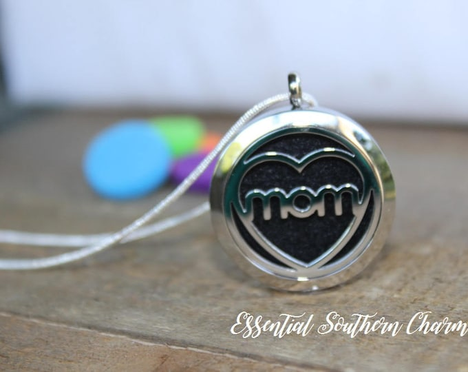 Essential Oil Diffuser Necklace Stainless Steel locket Sterling Silver Chain Mom 30mm