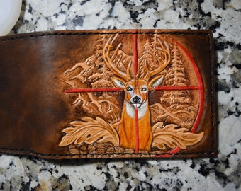 Custom (Made-to Order) Outdoorsmen Wallet with Buck Design -Exclusive Special Request Project
