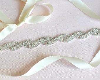 Rhinestone encrusted bridal belt, Crystal Belt, Bridal Sash