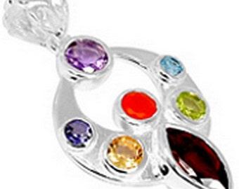 PENDANT 7 CHAKRA jewelry, natural stones, 925 sterling silver, stone, reequlibrage ja56 chakra jewelry