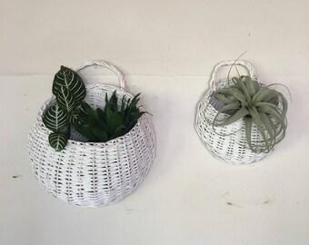Vintage wall basket set, basket wall pocket, boho decor, hanging basket, plant pocket basket.