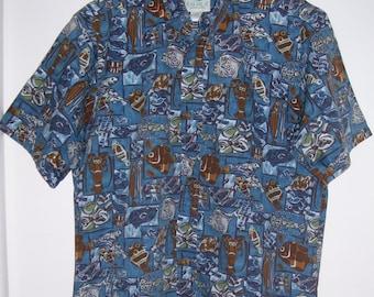 Vintage Hawaiian Shirt Made in Hawaii Men's Size L  Kahala Cotton Tiki