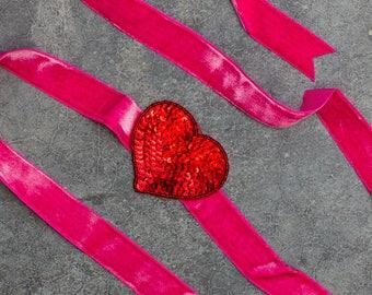 Hot Pink Velvet Ribbon Belt Red Sequin Heart Embellishment Handcrafted 269