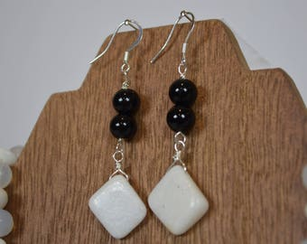 Black and White Drop Earrings
