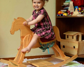 Wooden rocking horse Swing Wooden toys Montessori waldorf Personalized  Christmas gift photo prop Ride On/ Rocking Toys Wooden carving horse