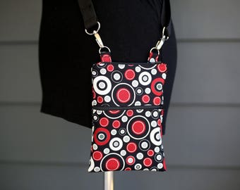 Small Cross Body Zipper Bag - Cell Phone Purse - Black and Red Bag