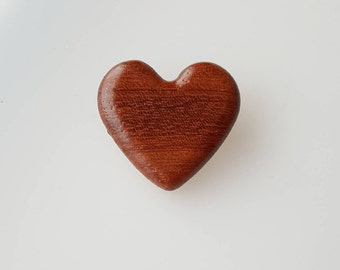Vintage wooden heart pin Valentine's Day brooch