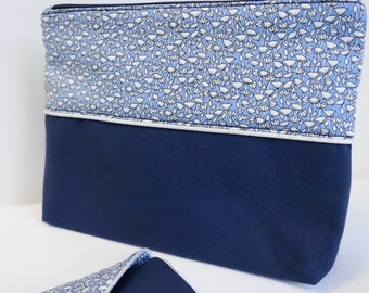 Blue lotus flowers - offered makeup pouch *.