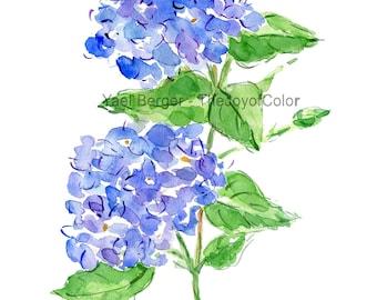 Hydrangea  watercolor, Hydrangea painting, Blue Hydrangea, Flower painting, Hydrangea blossom, floral art, plants watercolor, garden flowers