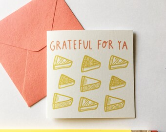 Tiny Card Set of 8! Grateful For Ya -- Pies Illustration. Gift Tag.