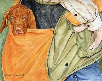 Vizsla in the Bag Limited Edition Print