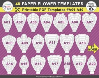40 PDF Paper Flower Templates, 40 printable PDF templates A01-A40, diy Giant large Paper Flower Petal Templates, molde de flores de papel