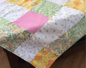 "Vintage Hand Tied Patchwork Quilt/tabletopper, 36-1/2"" sq."