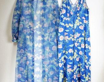 RARE 60s Vanity Fair Nylon Chiffon Peignoir Sz 36 / Vanity Fair Nightgown Robe Set / Vng MCM Peignoir / Vng Sheer Chiffon Robe / Vng  Nylon