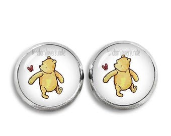 Winnie and Butterfly Stud Earrings Winnie the Pooh Earrings 12 mm Classic Winnie the Pooh Jewelry