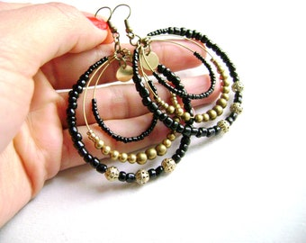 Bohemian style hoop earrings - boho chic - gypsy style -black and golden antique bronze long big indie chic earrings - Sophistic -