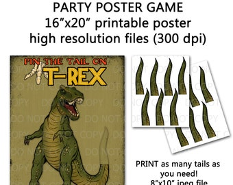 """Printable DIY Pin the Tail on Trex Dinosaur Party Game Poster 16"""" x 20"""""""