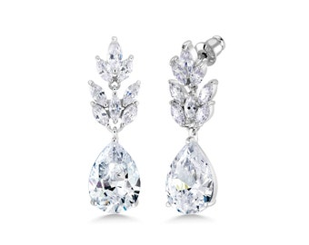 CZ Earrings Bridal Earrings Cubic Zirconia Wedding Earrings Wedding Jewelry Crystal Earrings Bridesmaid Earrings Teardrop Earrings