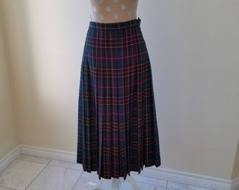 Vintage Glenscot Plaid Skirt, Vintage Pleated Skirt, Vintage Glenscot Made in Scotland For Nordstrom Pleated Plaid Skirt, Size 8 Pleat Skirt