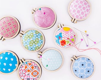 Pincushion in a tiny embroidery hoop