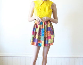 Sale 70's YELLOW DRESS Patchwork Vintage Mini Dress in Sunshine Yellow Quilt Skirt