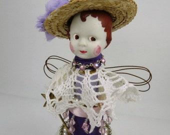 "Assemblage Angel, Art Doll, ""Pretty in Purple""  Assemblage Art Doll"