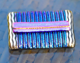 Large Dichroic Glass Brooch - Funky Bright Colours with a Sterling Silver Pin Fitting - Textured and Patterned Oblong Shape  - Gift Box