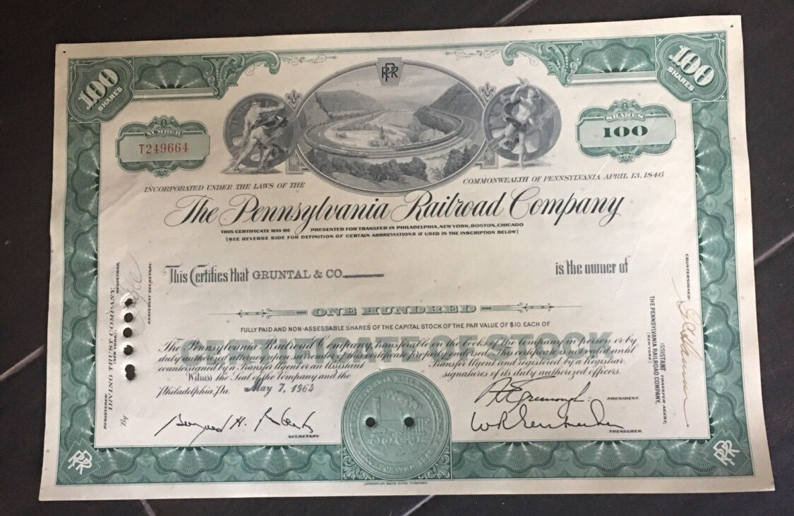 Pennsylvannia railroad company stock certificate dated 1964 description this stock certificate 1betcityfo Choice Image