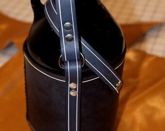 Leather Growler Holder, short handled.