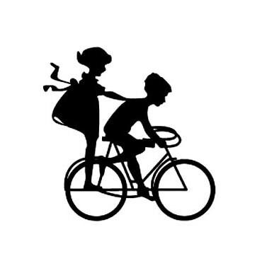 silhouette kids on bike Rubber Stamp medium sized