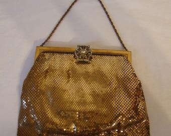 Vintage WHITING & DAVIS gold Metal Mesh Purse